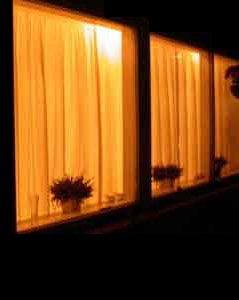 Curtains closed when dark outside